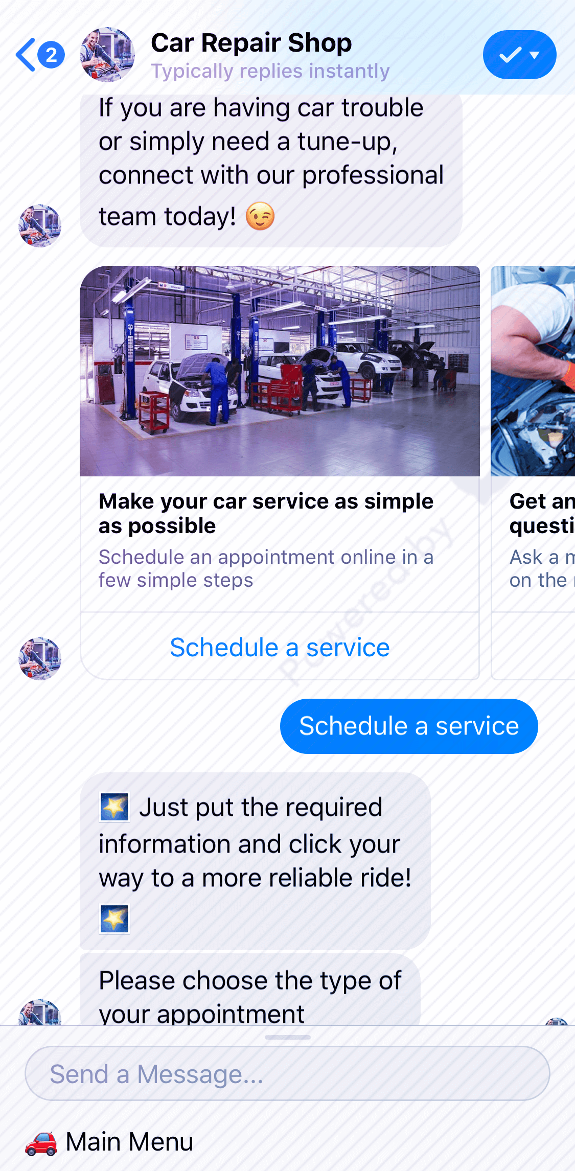 Appointment Bot For Car Repair Shop Chatbot for Facebook